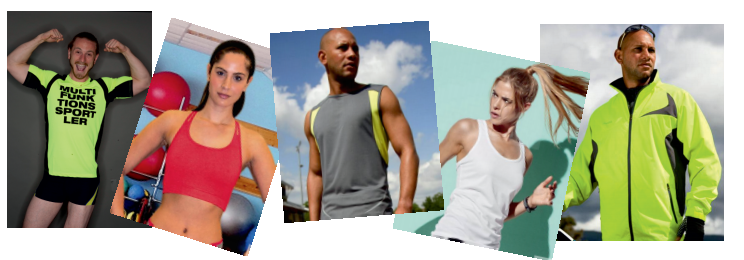 Sportkleidung, bedruckt & unbedruckt